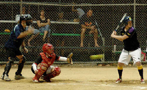 Umpire Geoff Godfrey was being kept busy as usual out on the diamonds during the Hervey Bay Softball Association senior women's competition.