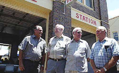 Pictured catching up at the Lismore Fire Station are former firefighters, from left, Bob Leeson from Casino, Kevin Muldoon from Goonellabah, Allen Patch from Skennars Head, and Brian Smith from Casino.