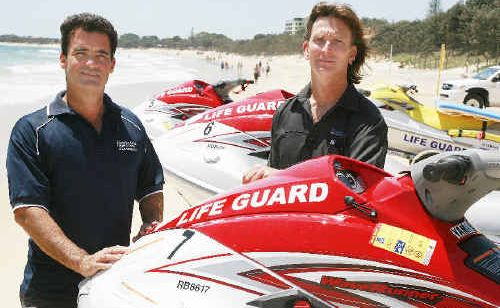 Council lifeguard services manager Scott Braby and fleet business team leader Malcolm Helling with three of the new jet skis that will patrol Sunshine Coast beaches this summer.