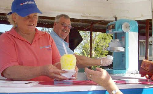 Rhonda and Barry Russell ran the Tropical Sno Gourmet Snocones stall at the final Childers Arts Council markets last Sunday.