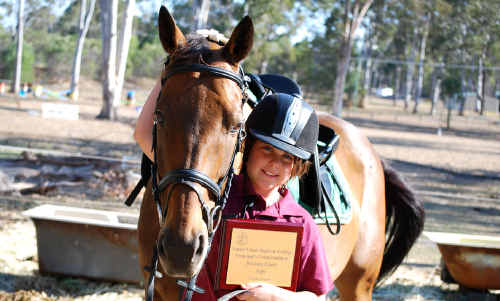 Brittany Clark and her bay gelding Diamond Star Jack's top performance during the year saw Brittany win a Principals Commendation Award for 2009.