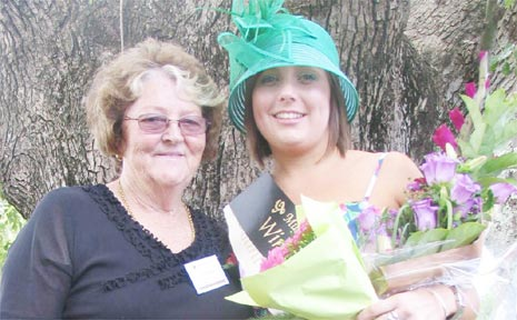 Show secretary Desley Creighton with Miss Showgirl Cecily Ryan.