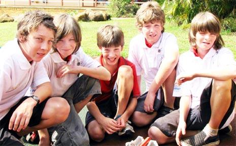 The 'Redbacks' . . . Jack Gordon, Sam McCarthy, Liam Harland-Meek, Nick Fisher and Jesse McCarthy.