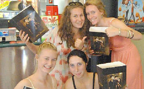 Rosie Pimm, Natalie Formosa (front), Sophie Lapene and Emily Kraut are excited about the opening of New Moon at Reading Cinema.