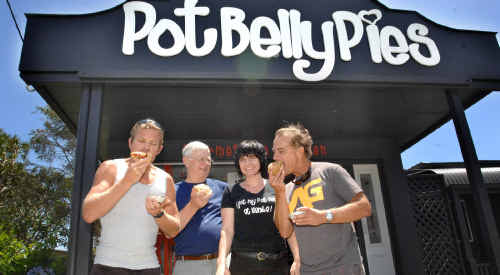 Ben Webber, Peter Story, Pot Belly Pies owner Bronwyn Mark and John Webber celebrate the shop being named the 'Pick of the Valley Pies'.