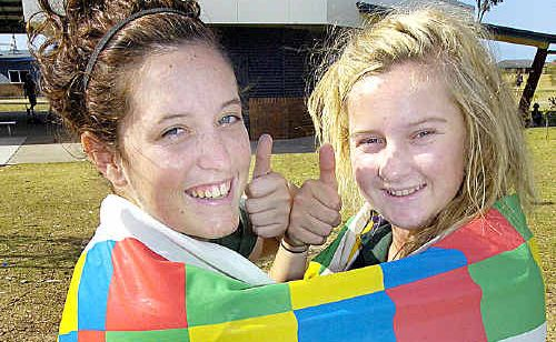 Schools out for seniors - (L) Bianca Swann and Emily Smith from Xavier heading off to schoolies.