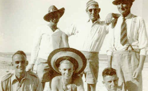Some of the surf club's foundation members including long-standing secretary Joe McRae, wearing a tie.