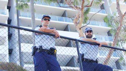 Sergeant Paul Christensen and Sergeant Mac Duus keep a look over the Riverside car park yesterday.