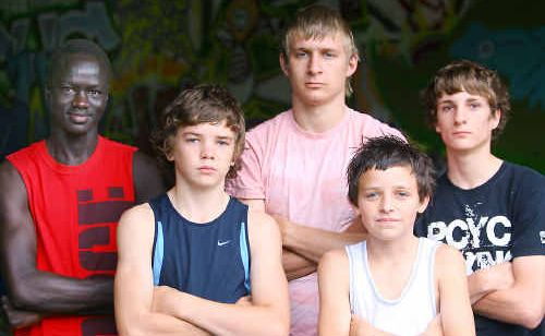 Young fighters ready to lay it on the line are (front, from left) Nat Hinchliffe and Lincoln Martyn, (rear) Kuant Kutah, Lachlan Hinchliffe and Harley Broom.