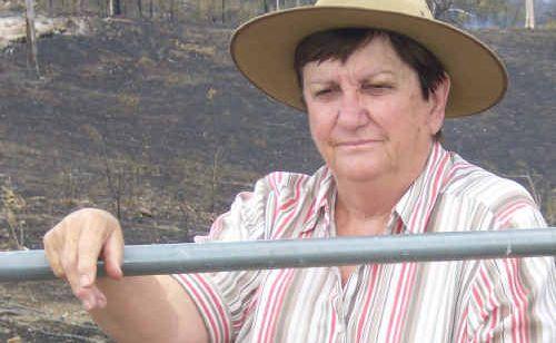 Grazier Hazle Marland surveys her scorched property.