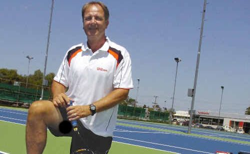 Lismore Tennis Club manager and coach John Stoddart at the club's new hardcourt surface.