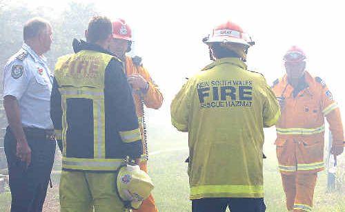 EMERGENCY services examined the smokey scene.