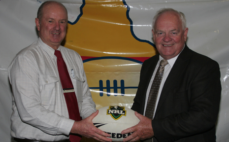 IS THE DREAM OVER? CQ NRL Bid Team chairman Geoff Murphy (right) says the push for a CQ team is not over despite NRL shelving NRL plans. Mr Murphy is pictured with Banana Shire Mayor John Hooper with at last month's Callide Dawson launch.