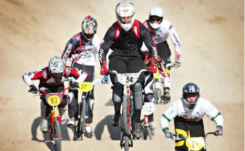 Dirk Winter (No. 54) won the open men's division in the Suncoast Hinterland BMX Club open day.