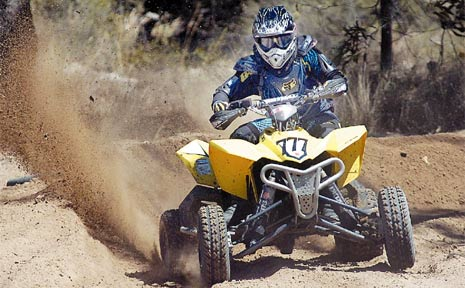 FULL SPEED AHEAD: Craig Blackburn competes in the quad race at Dundowran yesterday.