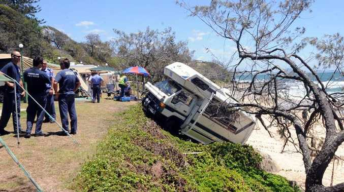 Scene of an accident at the Mooloolaba Beach Caravan Park where the driver of a motorhome reversed over an embankment.