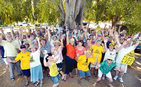 WE WON: Fraser Coast residents who fought the Traveston Crossing Dam celebrated in Maryborough at the weekend - but the fun came with a warning.