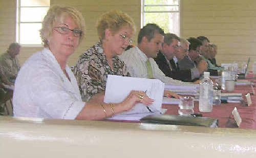 Bundaberg Regional Councillors get set for business at the Wallaville meeting.