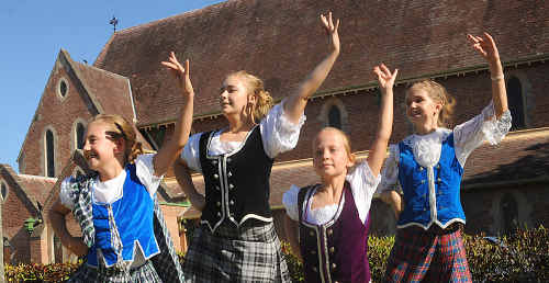 Richeal Paige, Demi Redman (front) Grace Lomax and Eve Hibbard from Alison's Celtic Dance Academy will be performing at the pavilion in Bundaberg CBD on St Andrew's Day.