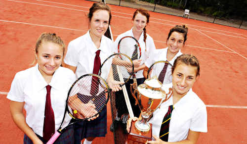Sunshine Coast Grammar tennis team members Andrea Dikosavljevic, Emily Burns, Rebecca Krisanski, Georgina Doll and Katarina Dikosavljevic with the secondary schools national trophy.
