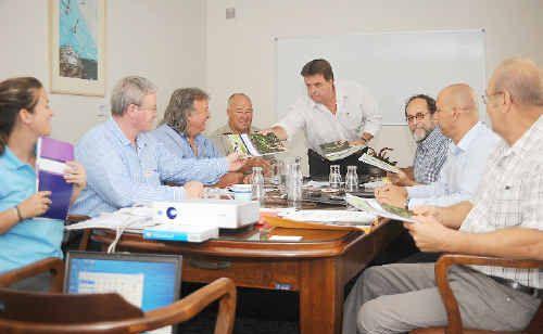 Loni Hammond, Ian Rowan, Cr Peter Huth, Ron Dodds, Cr Greg Barnes, James Corvan, David de Bruin and Ken Mogg attend the Bundaberg North Burnett Tourism Board meeting where the Tourism Opportunity Plan was released.