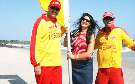 Mayor Cr Jan Barham at Main Beach on Monday morning with NSW Chief Lifeguard Stephen Leahy and lifeguard Saul Duran.