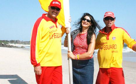 Mayor Cr Jan Barham at Main Beach on Monday morning with NSW Chief Lifeguard Stephen Leahy and lifeguard Saul Duran.