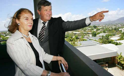 Rockhampton Grammar School Headmaster Islay Lee points out Rockhampton landmarks to Queensland Governor Penelope Wensley from the top floor of the new learning centre at the school.