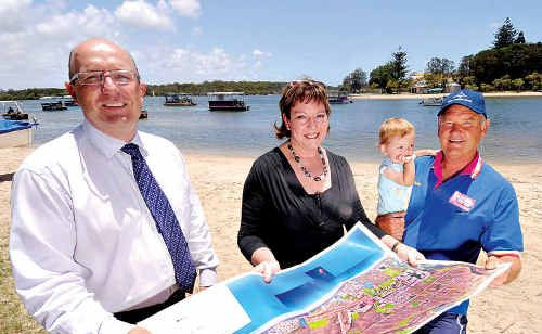 Maroochy Sailing club commodore John Pearce, councillor Debbie Blumel and Mark Planck from Swan Boat Hire, with grand-daughter Tilley, discuss the renewal of the riverside Bradman Avenue precinct.