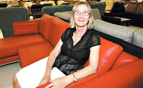 BACK IN BUSINESS: Catharina Moore, of Lounge World, is happy to be back in business after her store Rosemores was burnt down in the Spotlight fires in Kawana.