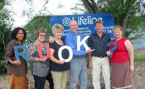 Lifeline staff Leonie Joseph, Sue Evans, Geraldine Hoek, John Maybanks, John Hansen and Lisa King prepare to celebrate the inaugural R U OK day tomorrow.