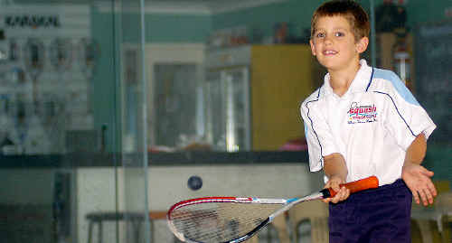Maryborough seven-year-old Braith Gempton took on the adults after he replaced a veteran squash player.
