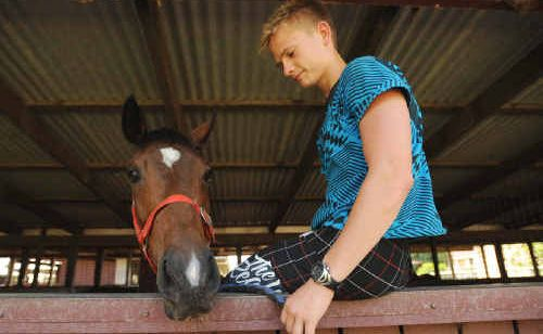 John Shelton's gelding Handsome Dane, with track work rider Anthony Allen, starts from barrier one at Grafton tomorrow.