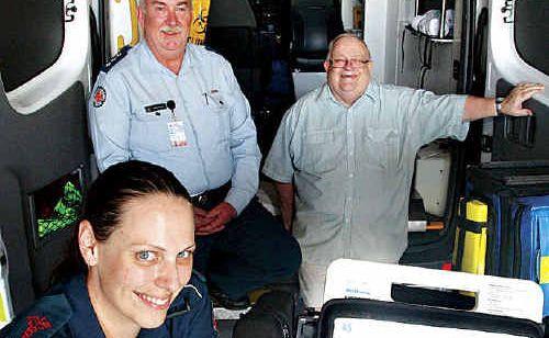 Caloundra ambulance staff after receiving a surprise $19,000 gift.
