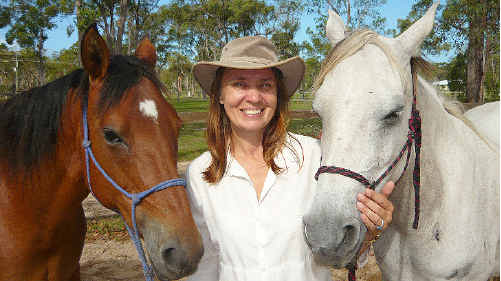 Helena Botros and the horses she works with in her equine therapy program with Phoenix House.