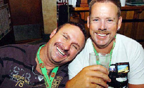 Mates Jason Brown and Wayne Krause party at Hoolihans for Movember.