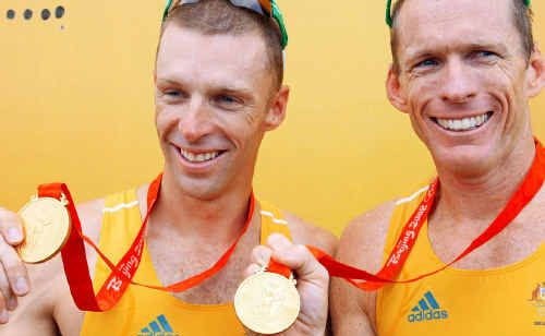 Duncan Free (right) pictured with team-mate Drew Ginn after winning gold in the Men's Pair at the Beijing 2008 Olympic Games.