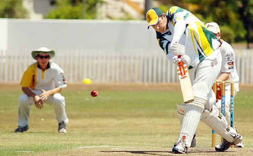 Australs opener Matthew Rook goes on the attack in his innings of 82 in the Fraser Coast Cricket A grade clash with Cavaliers at Newtown Oval.