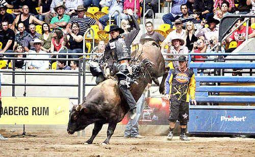 Mexican cowboy Rocky McDonald on Ariats Card Shark at the PBR finals at Tamworth.