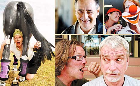 North Coast comedians (clockwise from left) Mandy Nolan, Jean-Paul Bell, mime artist and clown doctor, and Alan Glover and 'S'.
