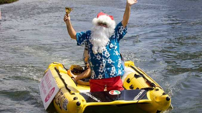 Santa swapped his reindeer for a boat.