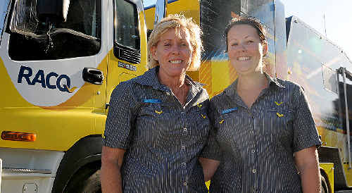 RACQ regional manager Judi Johnson and sales consultant Danielle Higgins are taking care of business in the mobile office.