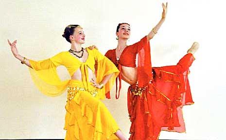 Karen Ireland Dance Centre dancers Samantha Bing (left) and Rhiannon Beardow.