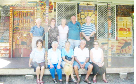 Members of the Class of 59 from the Mullumbimby High School gathered outside their old class room, the oldest building in the school ground. From left standing they are Heather Walker (McSwan), Judith Hill (Mackney), Robyn Gray (Harkness), Keith Woods, Neville Marks, seated Helen L'Orange (Alidenes), Pam Hastie (Barnes), Pam Morris (Dundas) Joe Thompson, Deirdre Sparrius (McLean).