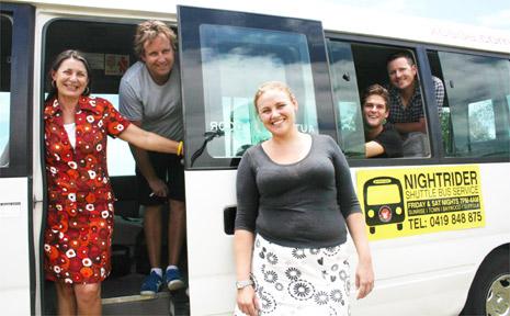 PICTURED with the 'Nightrider' bus are mayor Cr Jan Barham, James Anderson (Beach Hotel), Hannah Mooney (Railway Hotel), Sam Owens (La La Land) and J P Afflick (Cheeky Monkeys).