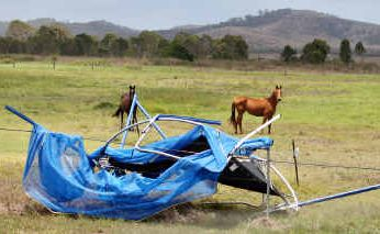 This trampoline ended up in a paddock in the middle of Tanby after wild winds hit Emu Park yesterday morning.