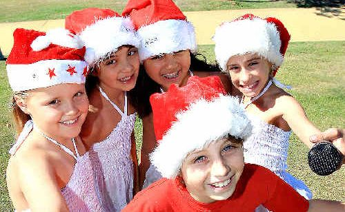 Kingscliff Performing Arts Academy members Lydia O'Neill, 9, Mia Usher-Torrance, 9, Leilani Mohenoa, 10, Sam Sales, 10, and Chelsey Elphick, 10 are looking forward to performing at Carols Under the Stars.