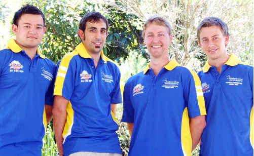 Part of the SCU Twenty20 team (from left) Pat Flaherty, James Forbes, Mitch Bartholomaeus and Alex Lewers.