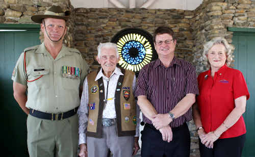 Warrant Officer Dave Renton from Shoalwater Bay, Jack Fleming, Robert Schwarten and Cr Rose Swadling.