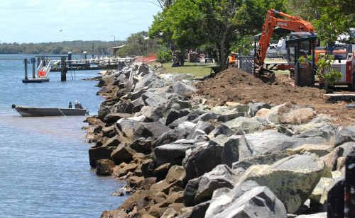 The rock wall at Iluka is considered dangerous and work is being done to remedy the problem.
